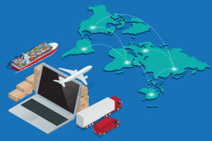 Global logistics network Concept of air cargo trucking rail transportation maritime shipping customs clearance. Documentary support, international trade consulting for clients isometric illustration